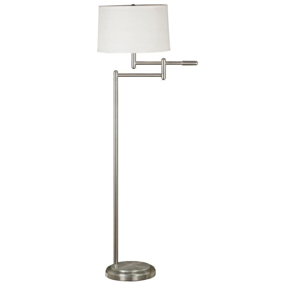 Kenroy Home Theta 60 In Brushed Steel Swing Arm Floor Lamp 20941bs The Home Depot
