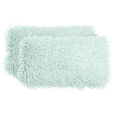 Mongolian Faux-Fur Aqua Solid Faux Fur Polyester 14 in. x 24 in. Throw Pillow (Set of 2)