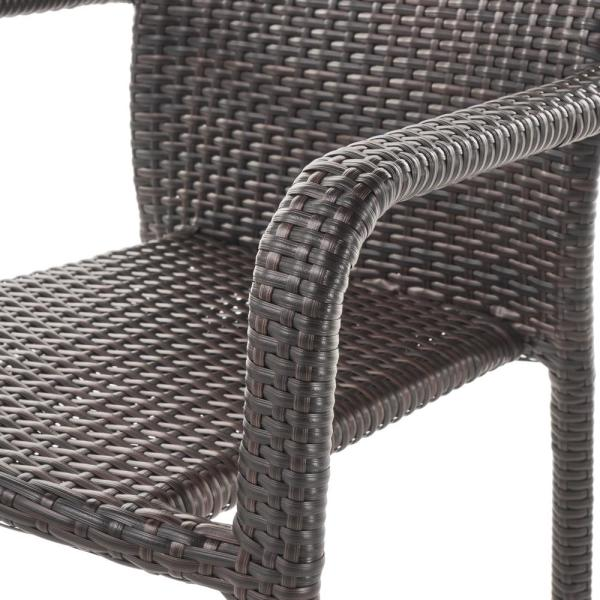 Noble House Dover Multi Brown Wicker Stacking Outdoor Dining Chairs 4 Pack 40763 The Home Depot