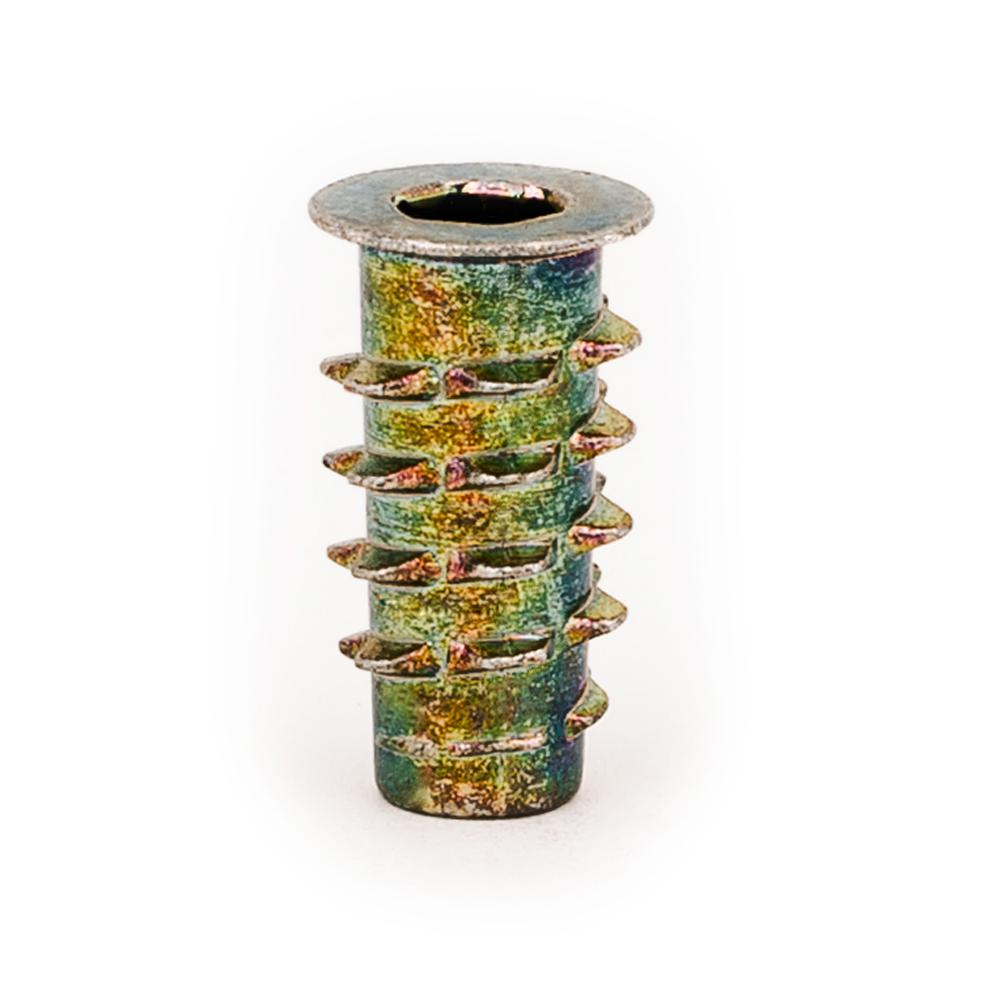 E-Z LOK Threaded Insert for Soft Wood, Hex Drive, Flanged, Die Cast Zinc, #10-24 TPI, 0.79 in. L, Yellows/Golds Hex Drive inserts are designed for use in applications such as furniture, drawer pulls, display cases, and shipping crates. Ideal for use in soft woods, like pine, plywood, composition board, and MDF. Install using a hex key/allen wrench or optional drive tool. Color: Yellows / Golds.