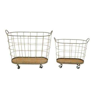 30-1/2 in. L Metal Rolling Laundry Baskets (Set of 2)