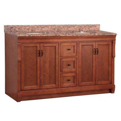 Naples 61 in. W x 22 in. D Double Bath Vanity in Warm Cinnamon with Stone Effects Vanity Top in Santa Cecilia