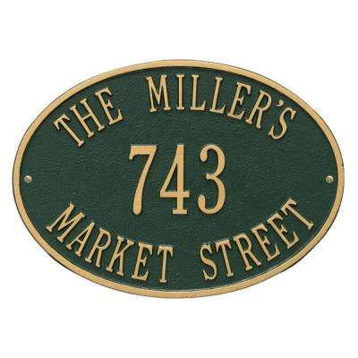 Oval Hawthorne Standard Green/Gold Wall 3-Line Address Plaque