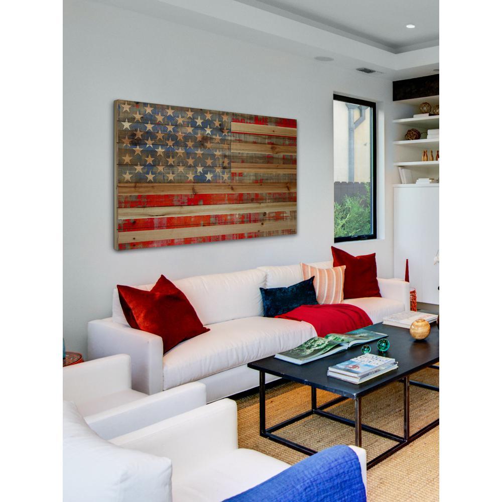 "24 in. H x 36 in. W ""American Dream"" by Parvez Taj Printed Natural Pine Wood Wall Art"