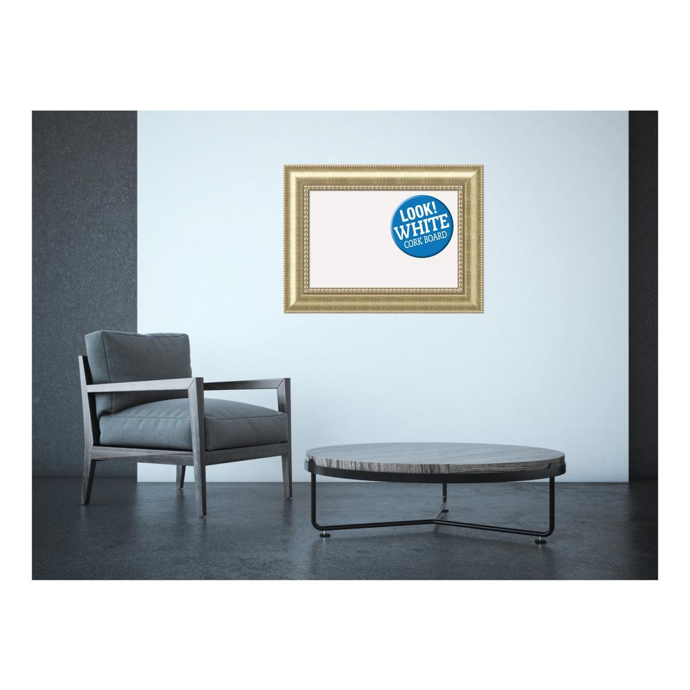 Astoria Champagne Wood 31 in. x 23 in. Framed White Cork