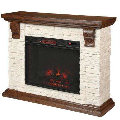 Highland 50 in. Media Console with Faux Stone Electric Fireplace TV Stand in Rustic White