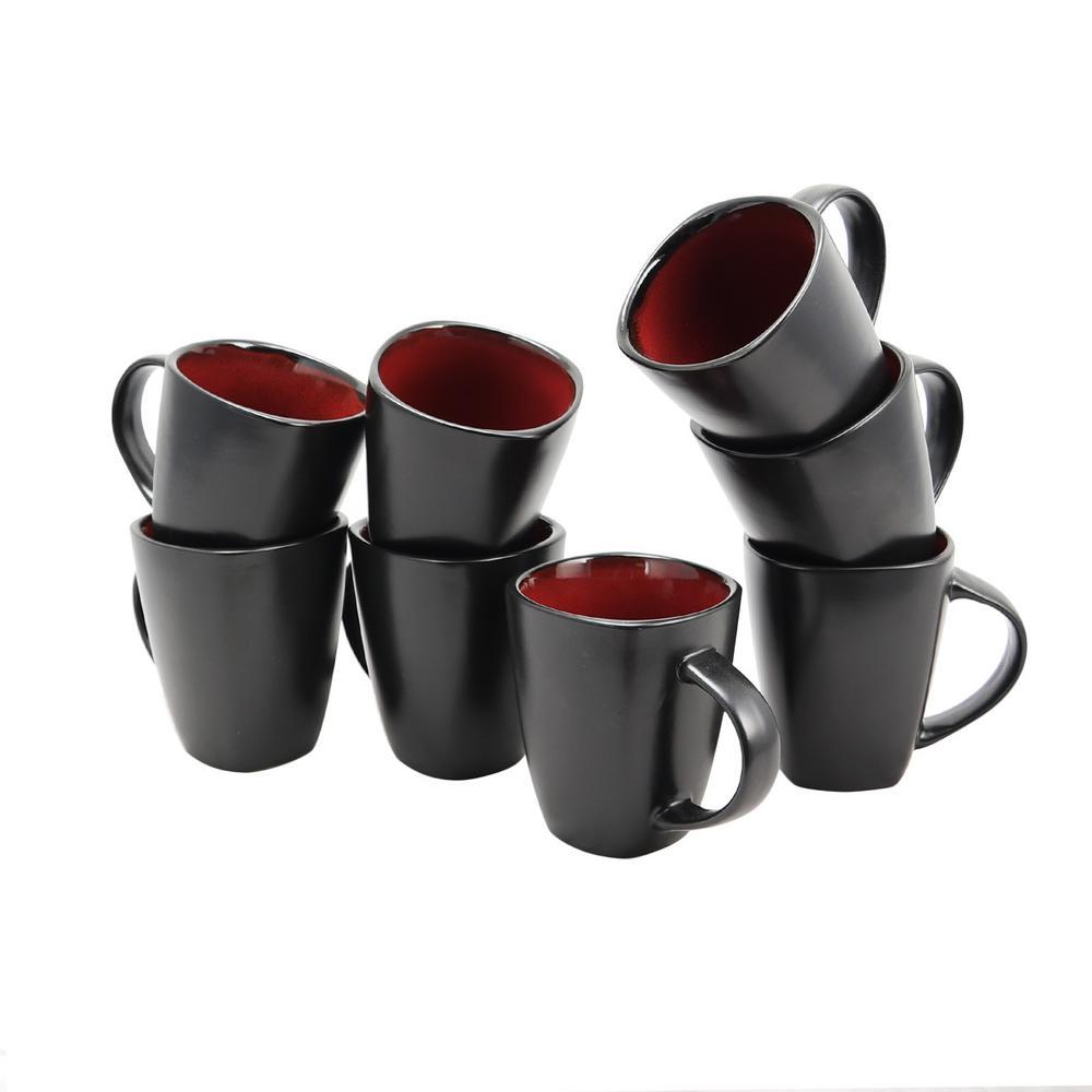 Soho Lounge 12 oz. Red and Black Mug (Set of 8)