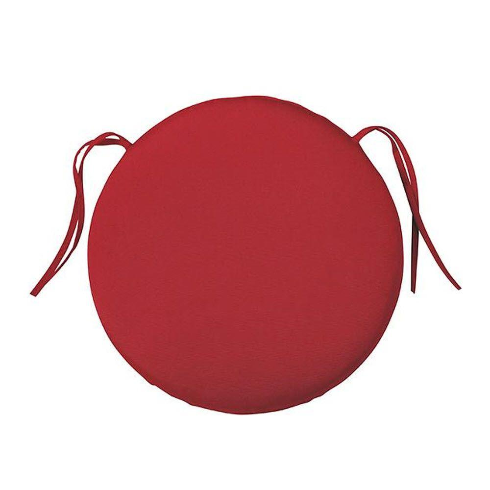 Home Decorators Collection Sunbrella Jockey Red Round Outdoor Seat Cushion