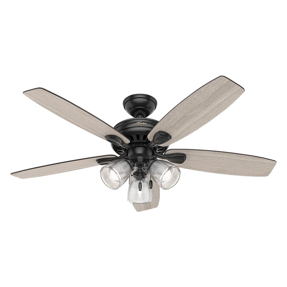 Hunter highbury ii 52 in led indoor matte black ceiling fan with led indoor matte black ceiling fan with light kit 52028 the home depot aloadofball Image collections