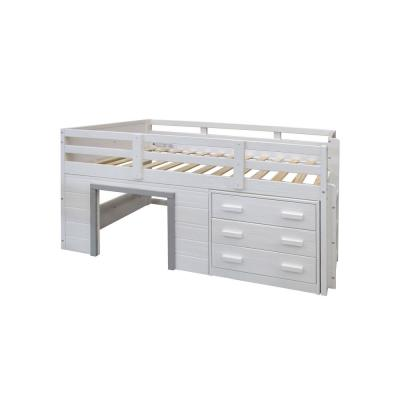 Sweet Dreams White and Grey Twin Low Loft Bed
