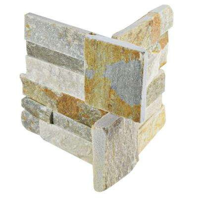 Ledger Panel Honey Corner 7 in. x 7 in. Natural Quartzite Wall Tile