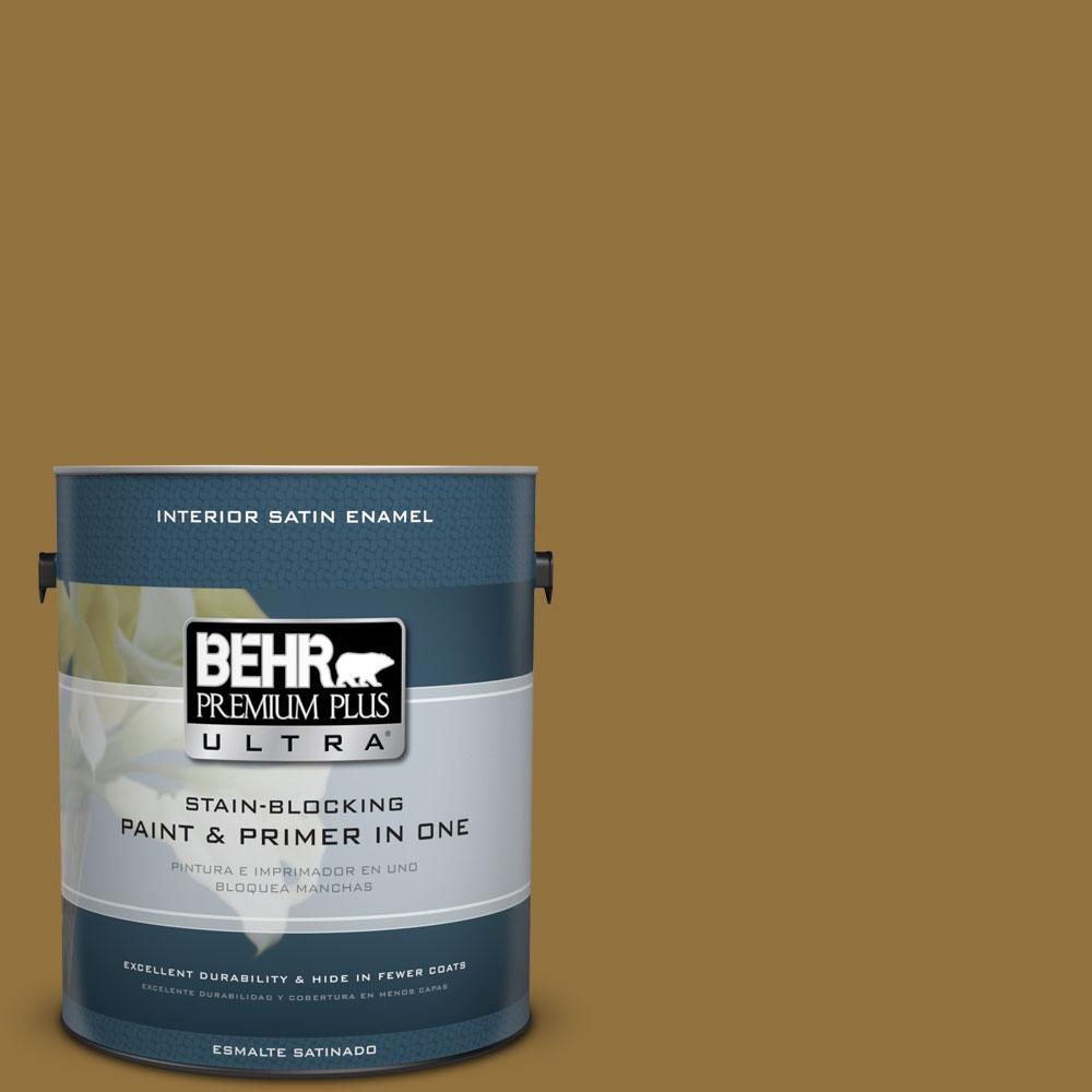 1 gal. #350D-7 Cattail Brown Satin Enamel Interior Paint and Primer