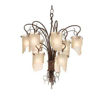 Soho 9-Light Hammered Ore Chandelier with Brown Tint Ice Glass