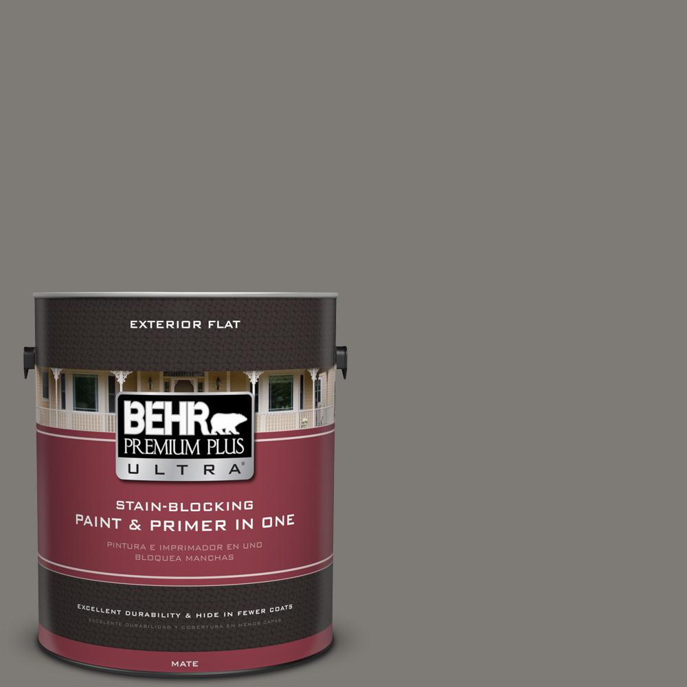 1 gal. #PPU24-21 Greyhound Flat Exterior Paint and Primer in One