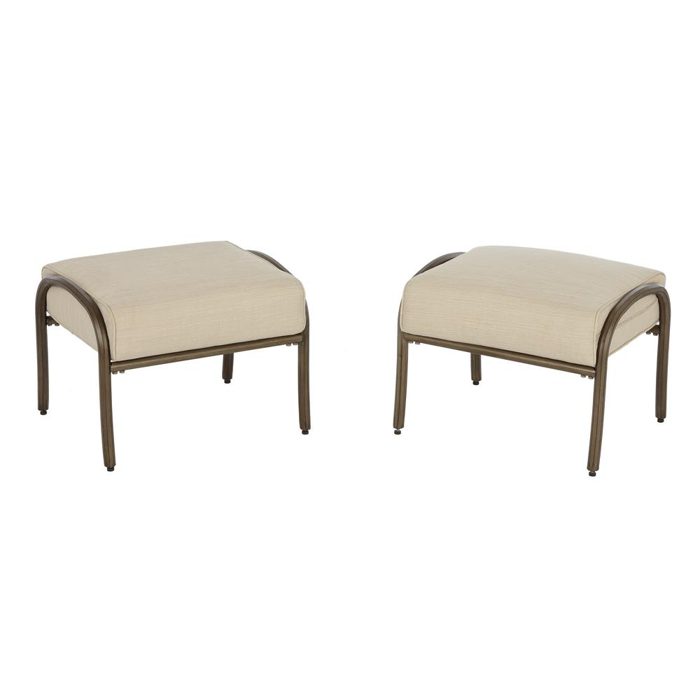 Superior Cavasso Metal Outdoor Ottoman With Oatmeal Cushion (2 Pack)