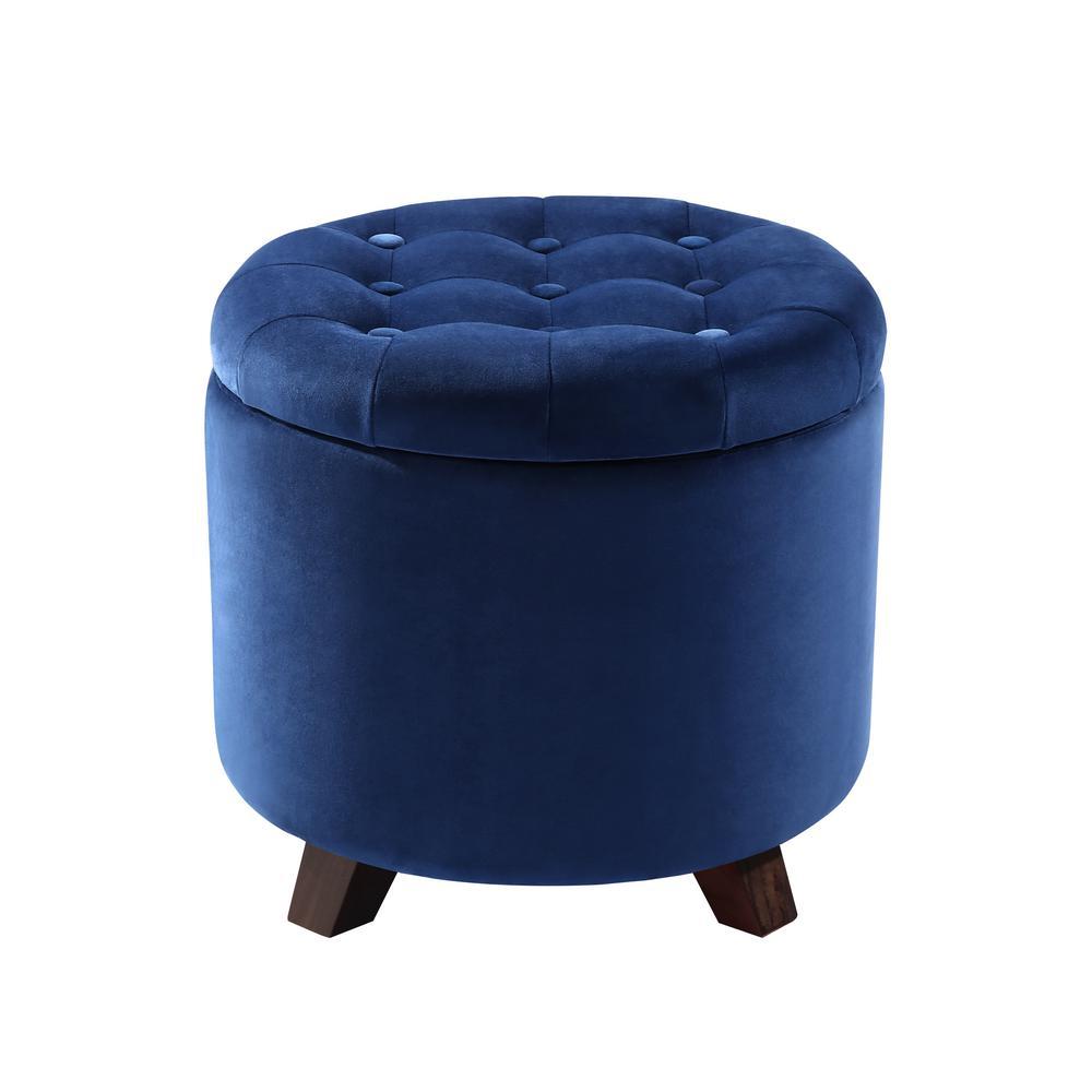 Antonia Blue Velvet Storage Ottoman