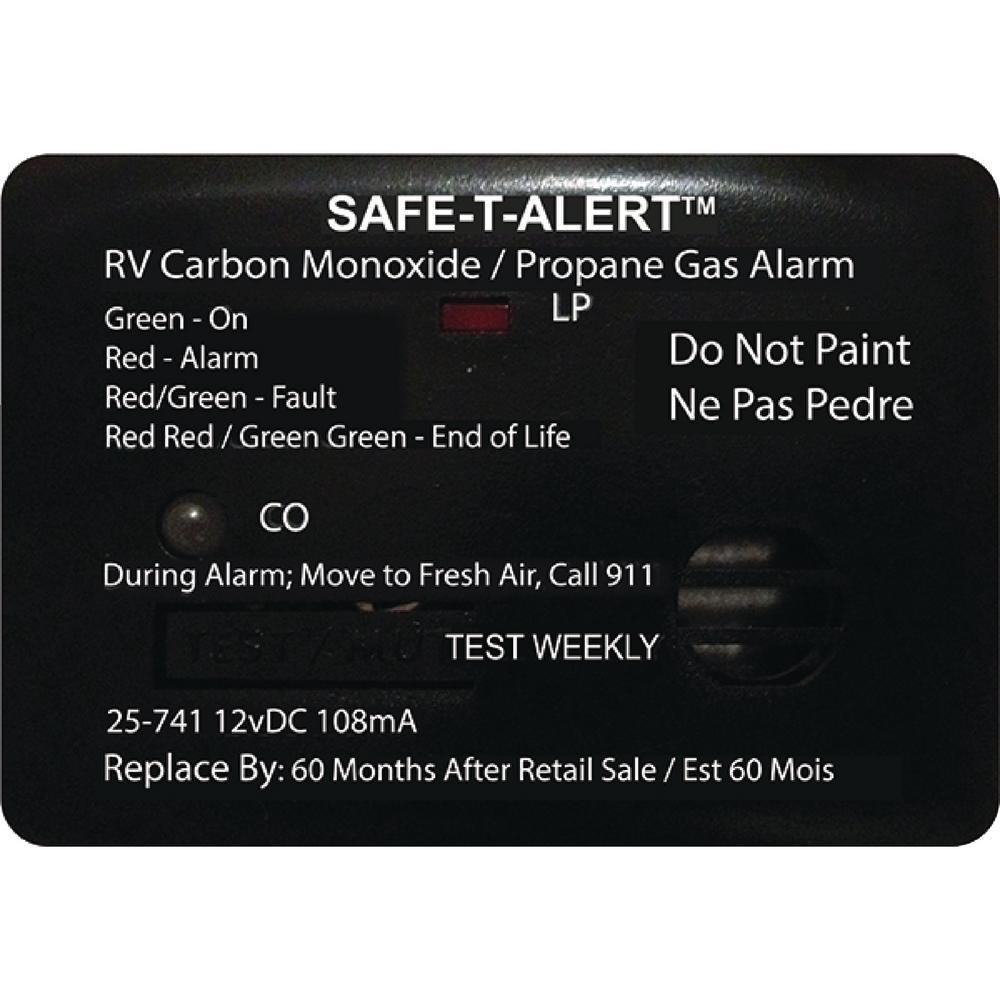25 Series 12-Volt Safe-T-Alert Mini RV Dual Carbon Monoxide/Propane Alarm in Black