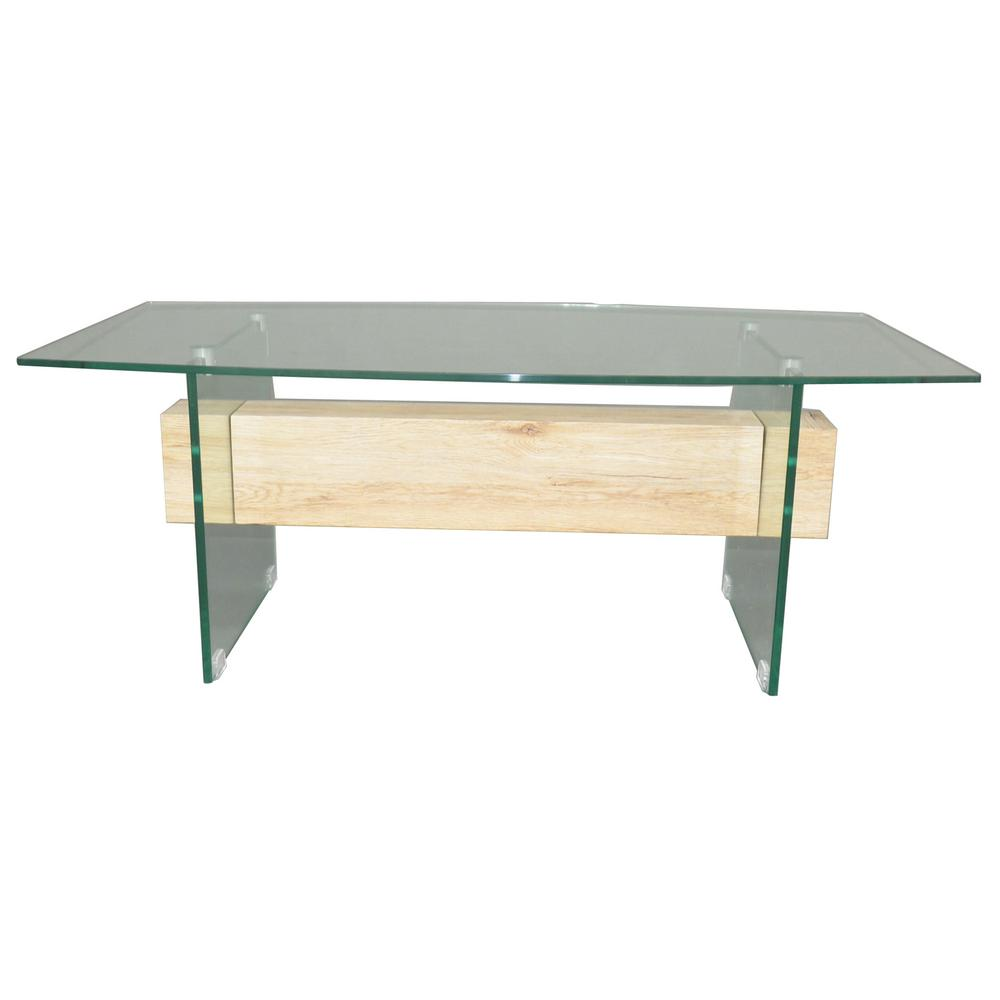 Noble house clear tempered glass coffee table with wood block accent
