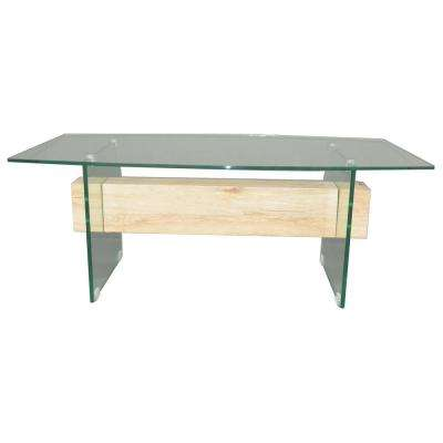 Clear Tempered Glass Coffee Table with Wood Block Accent