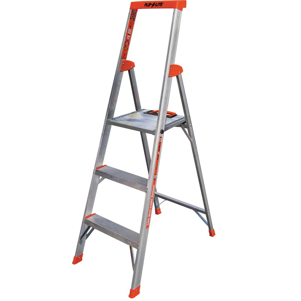 5 ft. Flip-N-Lite Aluminum Utility Ladder with 300 lb. Load Capacity