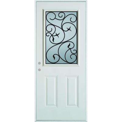 33.375 in. x 82.375 in. Silkscreened Glass 1/2 Lite 2-Panel Painted White Right-Hand Inswing Steel Prehung Front Door