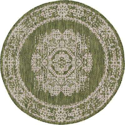 Green Timeworn Outdoor 4 ft. Round Area Rug