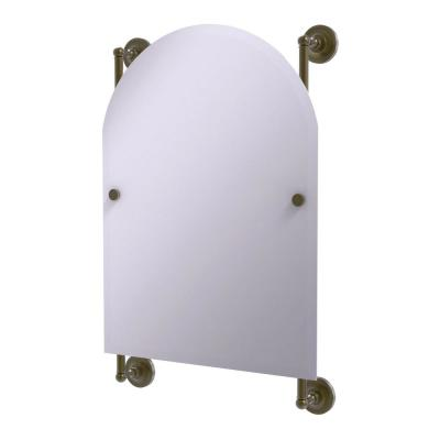 Prestige Regal 21 in. x 29 in. Single Arched Top Frameless Rail Mounted Mirror in Antique Brass