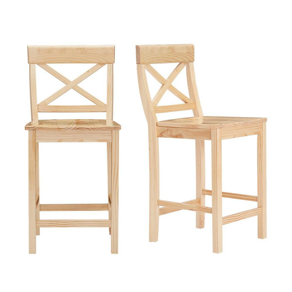 StyleWell Cedarville Unfinished Wood Counter Stool with Cross Back (Set of 2) (19.42 in. W x 38.22 in. H), Natural was $159.0 now $95.4 (40.0% off)