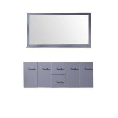 Amelie 60 in. Double Bath Vanity Cabinet Only with Mirror in Dark Grey
