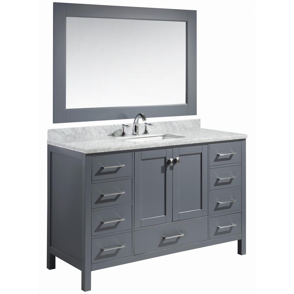 London 54 in. W x 22 in. D x 36 in. H Vanity in Gray with Marble Vanity Top in Carrara White, Basin and Mirror