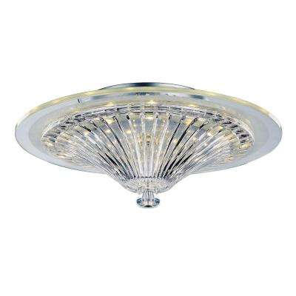 Polished Chrome LED Indoor Crystal Round Pyramid Flush Mount