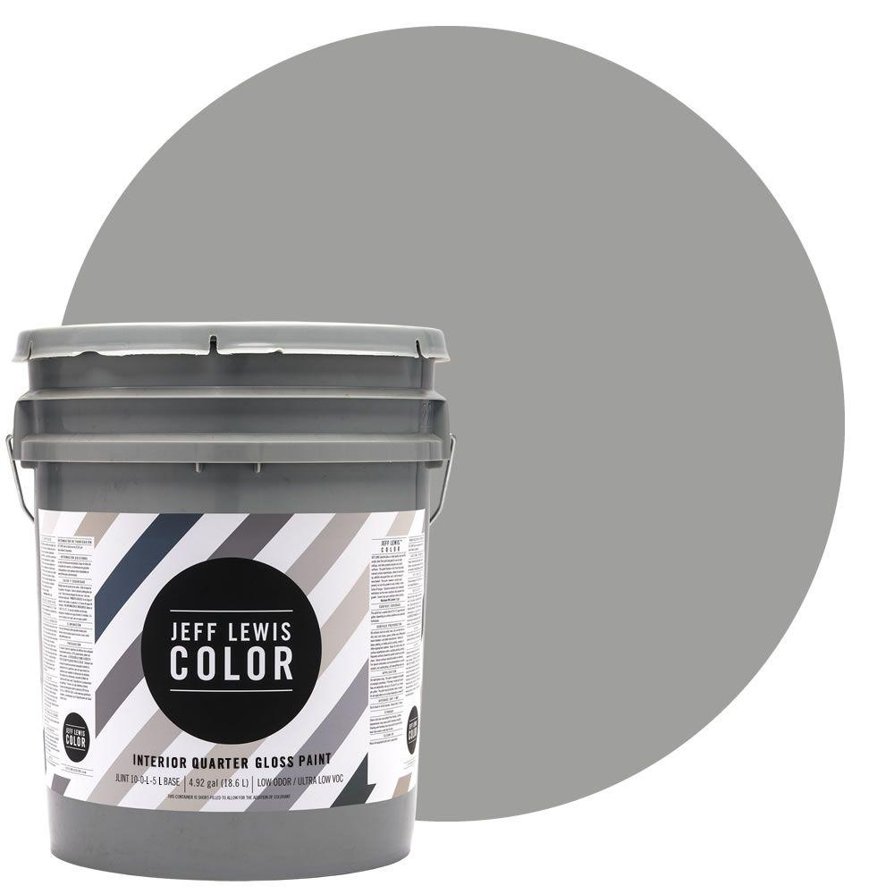 Jeff Lewis Color 5-gal. #JLC414 Gravel Quarter-Gloss Ultra-Low VOC Interior Paint