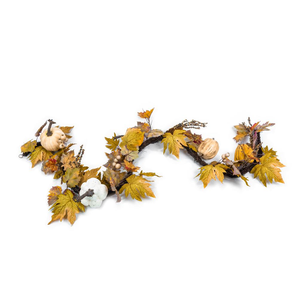 6 ft. Unlit Artificial Fall Garland with Pumpkins and Maple Leaves
