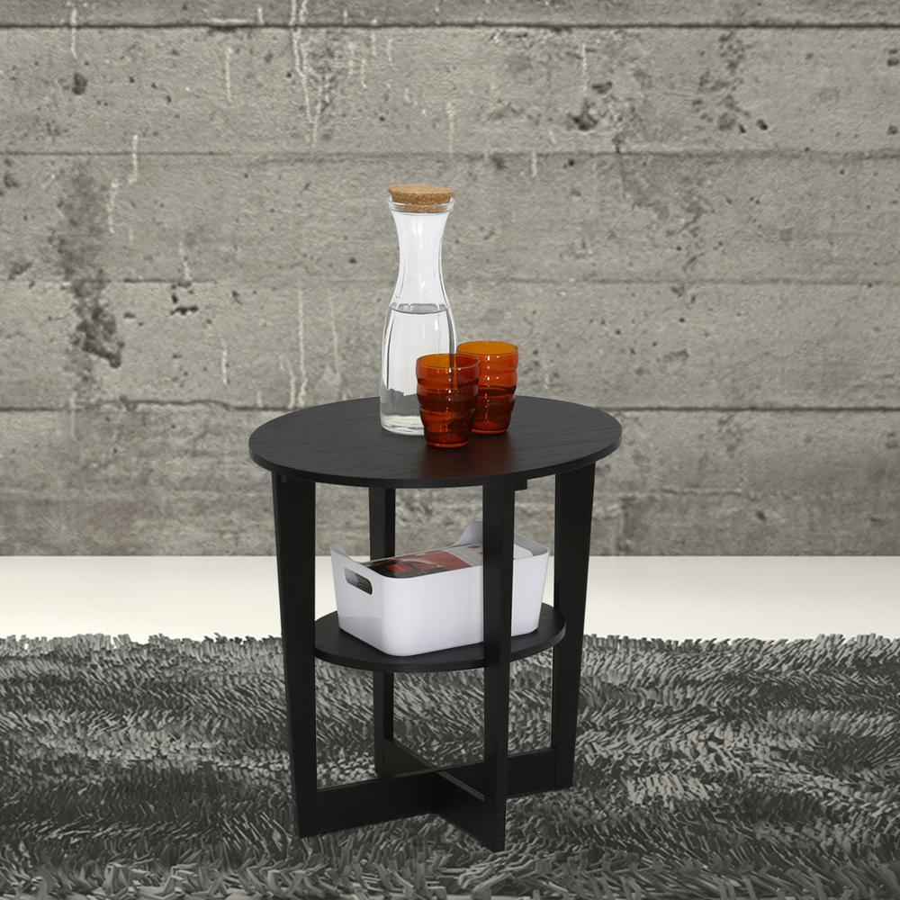 Furinno Oval Walnut End Table