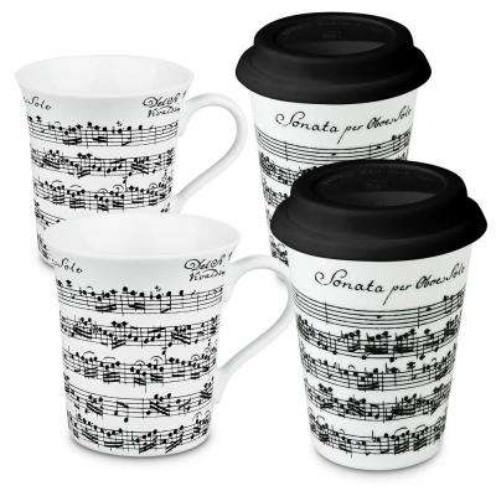 Konitz 4-Piece Assorted Vivaldi Libretto White to Stay To Go Porcelain Mug Set