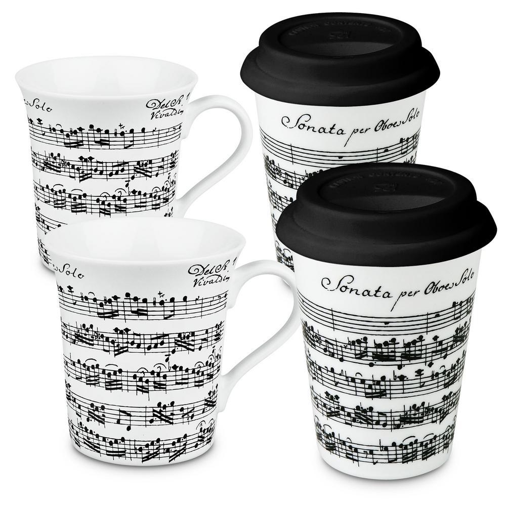 Konitz 4-Piece Assorted Vivaldi Libretto White to Stay To Go Porcelain