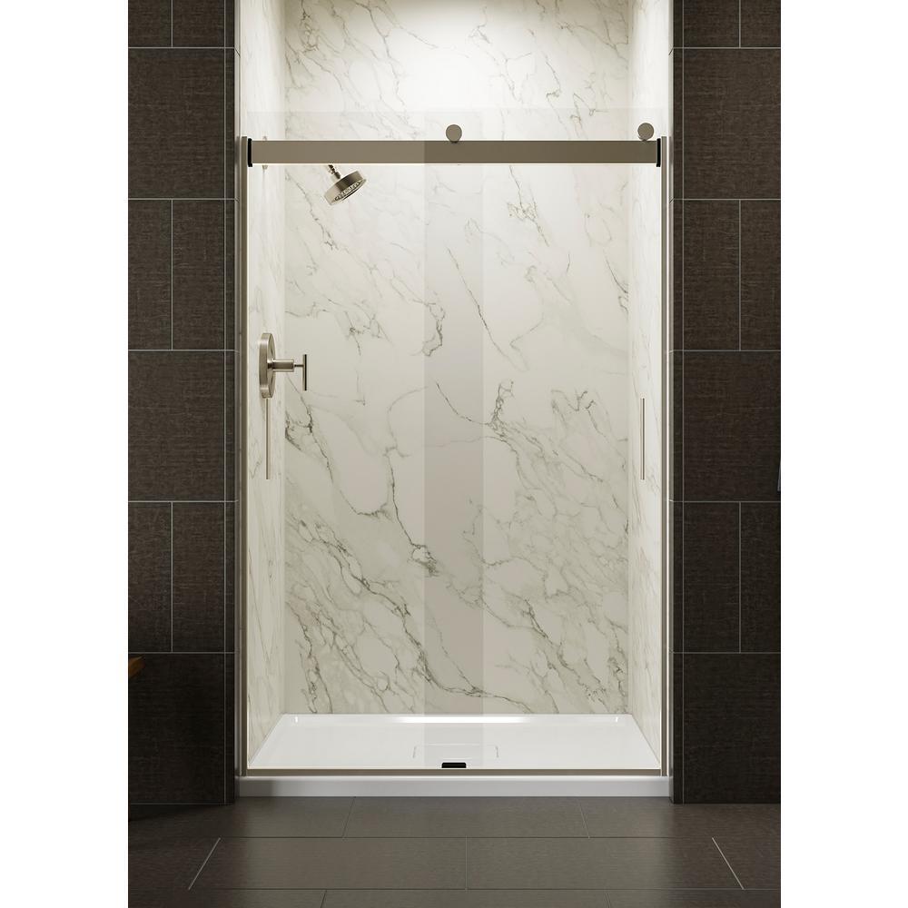 Levity 48 in. x 74 in. Semi-Frameless Sliding Shower Door in Nickel with Handle