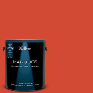1 gal. #S-G-190 Red Hot Satin Enamel Exterior Paint and Primer in One