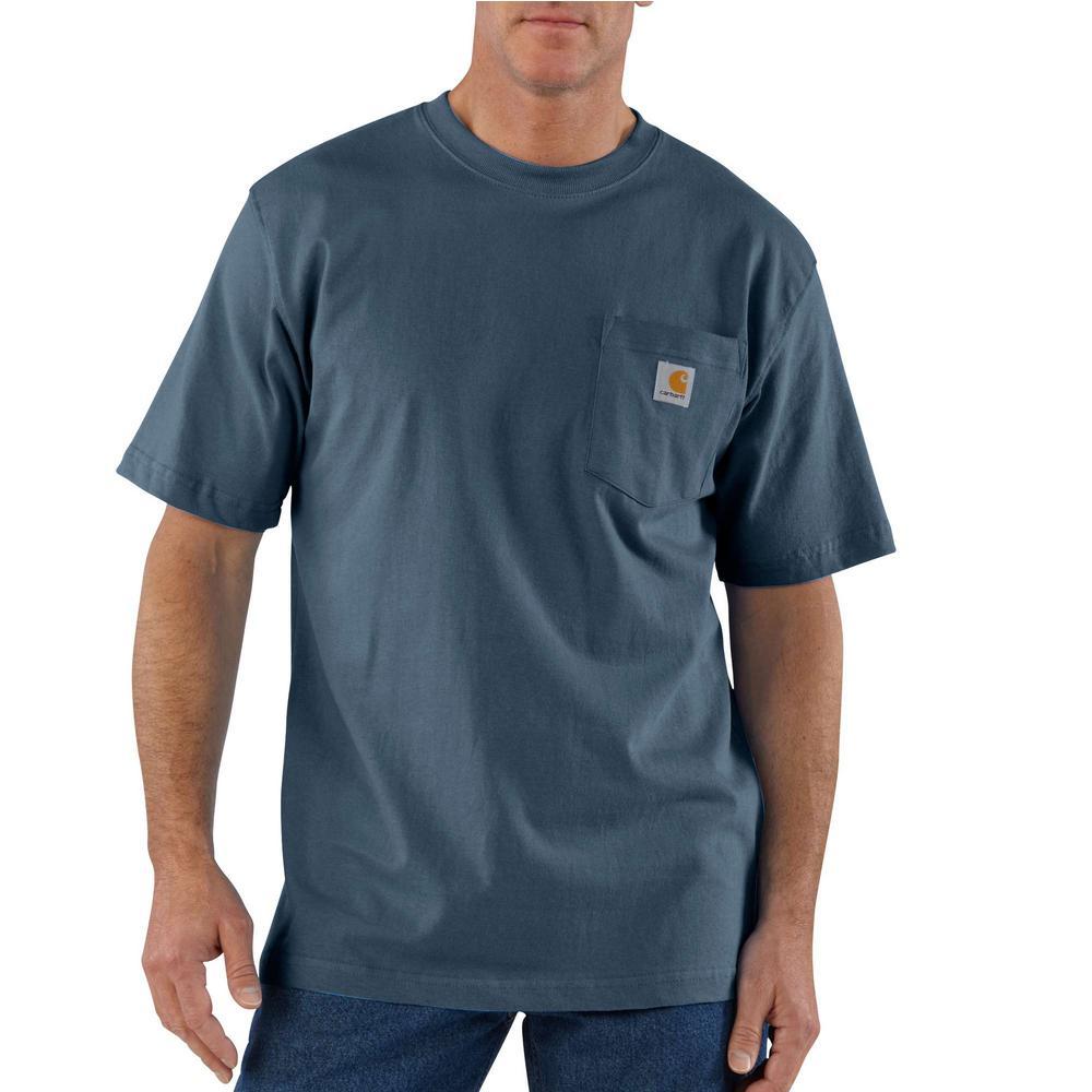 Carhartt Men's 4X Large Tall Bluestone Cotton Workwear Pocket Short Sleeve T Shirt Mid Weight Jersey Original Fit