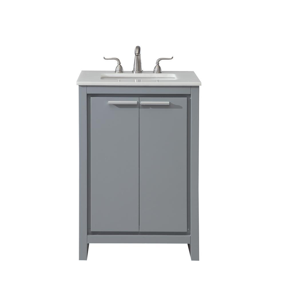 Goodrich 24 in. Single Bathroom Vanity with 1-Shelf 2-Doors Marble ...