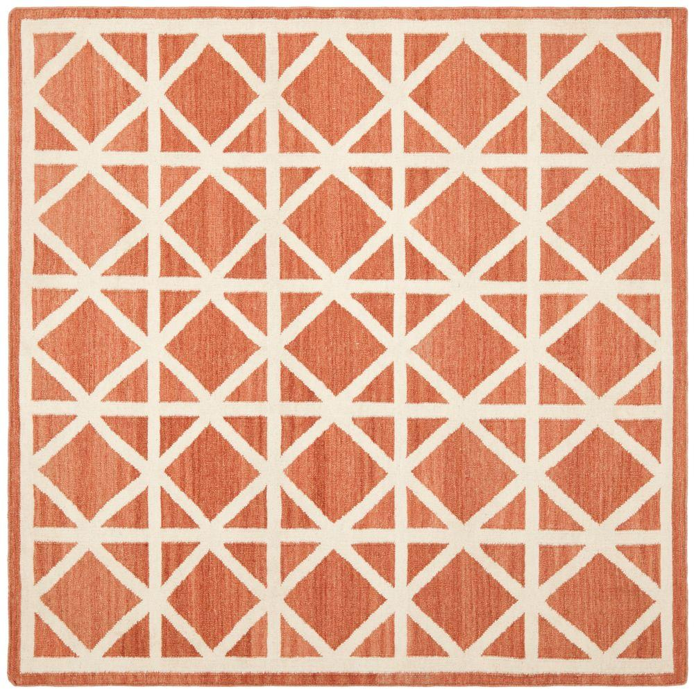 Safavieh Dhurries Red/Ivory 8 ft. x 8 ft. Square Area Rug