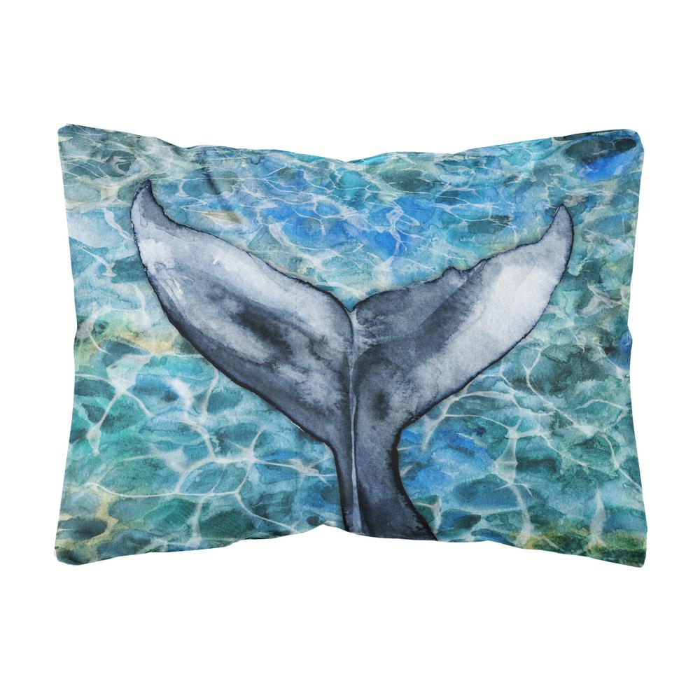 Caroline's Treasures 12 in. x 16 in. Multi-Color Lumbar Outdoor Throw Pillow Whale Tail