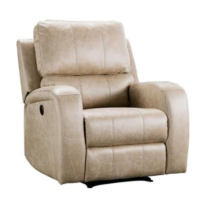 Buff  Electric Power Recliner Chair - Air Suede Electric Faux Suede Leather Recliner Chair with USB Charge Port
