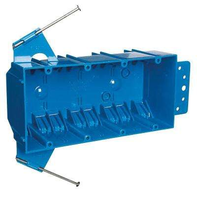 4-Gang 55 cu. in. Zip Box with Non-Metallic Switch and Outlet Box - Blue