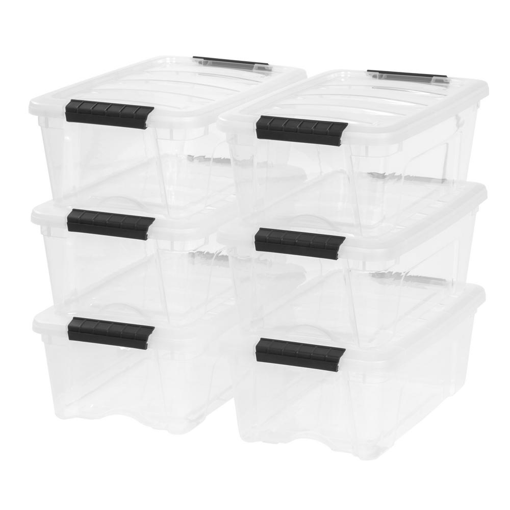 IRIS 12 Qt. Stack and Pull Storage Box in Clear (Pack of 6)