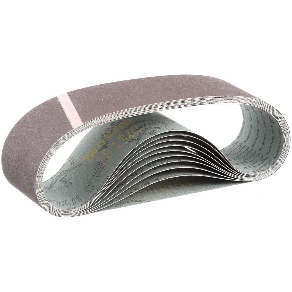 3 in. x 24 in. 120-Grit Abrasive Belt (10-Pack)