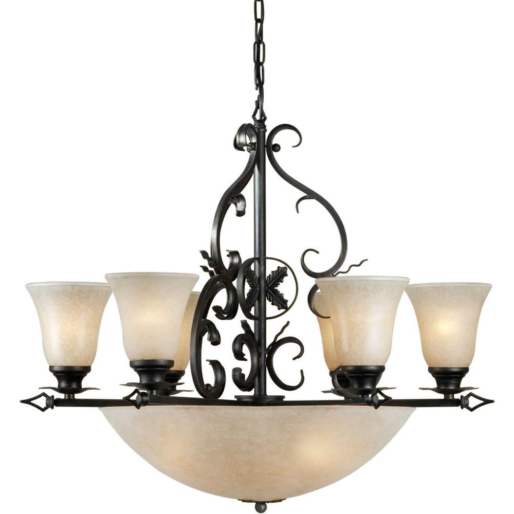 Forte Lighting 10-Light Bronze Chandelier with Mica Flake Glass Shade