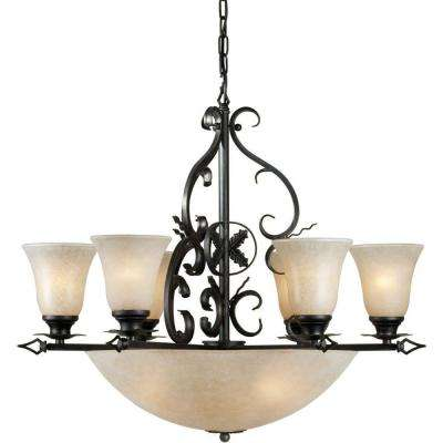10-Light Bronze Chandelier with Mica Flake Glass Shade