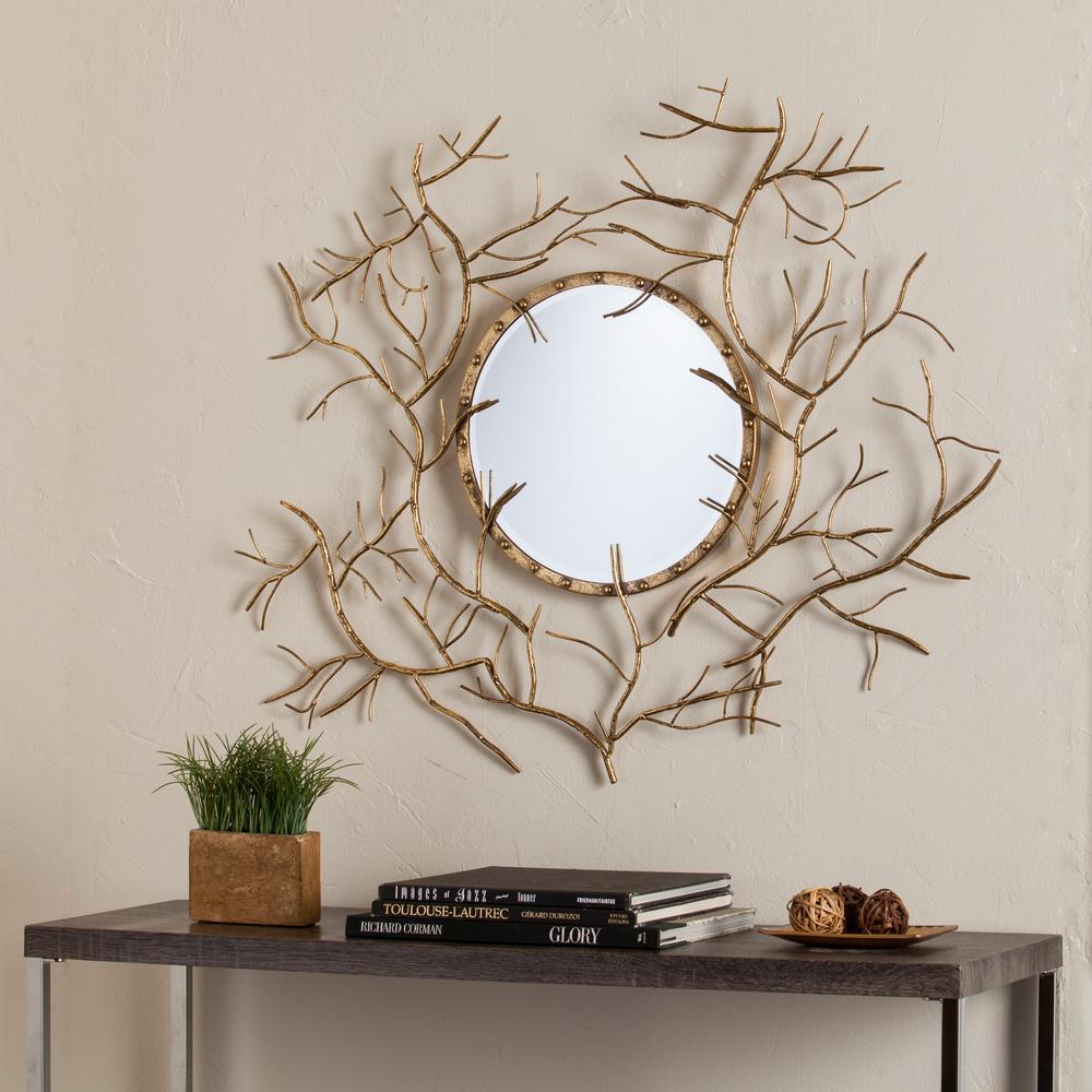 Southern Enterprises Colyn Branch Round Mirror HD749143