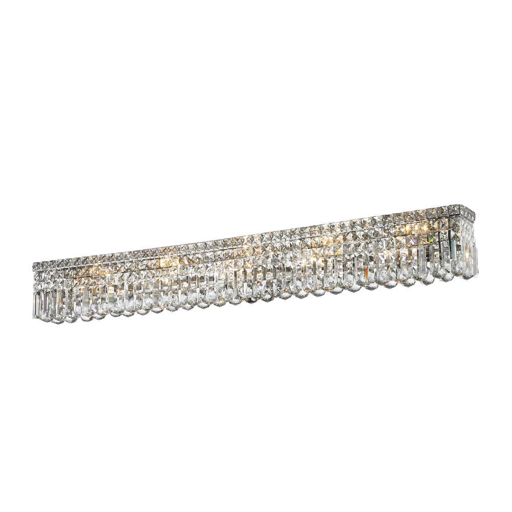 Cascade 10-Light Chrome Crystal Wall Vanity Light
